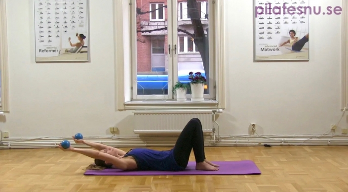 Pilates med viktbollar, stabilitetsträning